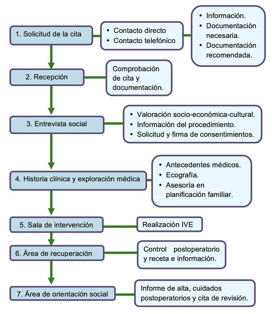 Gráfico del proceso de atención de IVE en Ginegranada. Aborto instrumental.